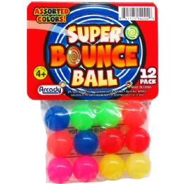 """48 Units of 12PC 0.75"""" HIGH BOUNCING BALLS IN POLY BAG W/ HEADER - Novelty Toys"""