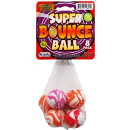 """96 Units of 8PC 1.25"""" HIGH BOUNCING BALLS IN NET BAG W/ HEADER CARD - Novelty Toys"""