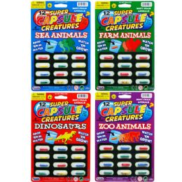 144 Units of 12PC AMAZING CAPSULE CREATURES ON CARD, 4 ASSRT STYLES - Toys & Games