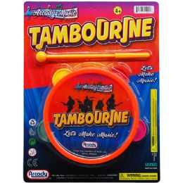 """48 Units of 6"""" TOY TAMBOURINE W/ 6"""" STICK ON BLISTER CARD - Novelty Toys"""