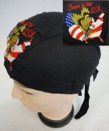 48 Units of Embroidered Skull Cap [Born in the USA - Head Wraps