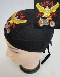 48 Units of Embroidered Skull Cap Eagle With Bike - Head Wraps