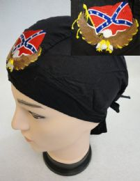 48 Units of Embroidered Skull Cap Eagle With Rebel Flag - Head Wraps