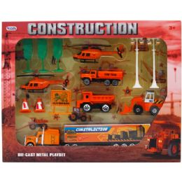 12 Units of 14PC DIECAST CONSTRUCTION PLAY SET IN WINDOW BOX - Cars, Planes, Trains & Bikes