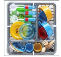 """12 Units of 21PC PRETEND DISH PLAY SET IN 11.5"""" DISH RACK - Educational Toys"""