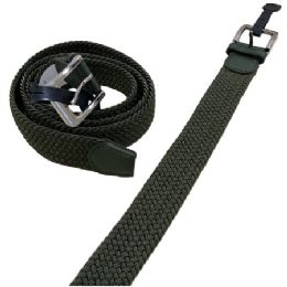 36 Units of Braided Stretch Belt Army Green All Sizes - Mens Belts