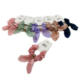 72 Units of 1 Piece Printed Solid Scrunchie With Tails - Hair Scrunchies