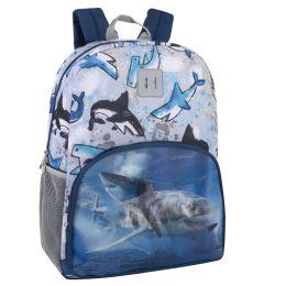 "24 Units of 17 Inch Shark Lenticular Backpack - Backpacks 17"""