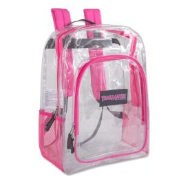 """24 Units of Deluxe 17 Inch Clear Backpack- PINK - Backpacks 17"""""""