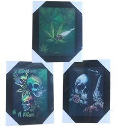 12 Units of Rose Skull Weed Canvas Picture Wall Art - Wall Decor