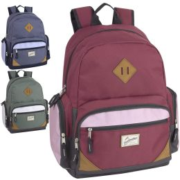 """24 Units of 19 Inch Duo Compartment Backpack with Laptop Sleeve 3 Color Girl Assortment - Backpacks 17"""""""