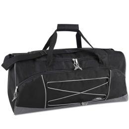 24 Units of 26 Inch Bungee Duffel Bag BLACK - Duffel Bags