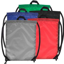 48 Units of 18 Inch Basic Drawstring Bag - 5 Color Assortment - Draw String & Sling Packs