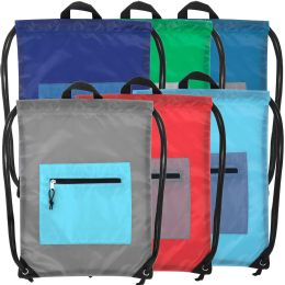 48 Units of Front Accessory Pocket Drawstring Backpack - 6 Color Assortment - Draw String & Sling Packs