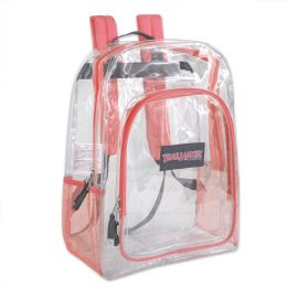 """24 Units of Deluxe 17 Inch Clear Backpack- Coral - Backpacks 17"""""""