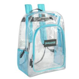 """24 Units of Deluxe 17 Inch Clear Backpack- Turquoise - Backpacks 17"""""""