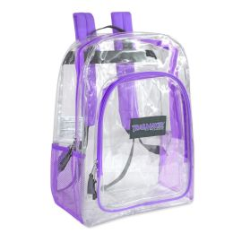 """24 Units of Deluxe 17 Inch Clear Backpack- Purple - Backpacks 17"""""""