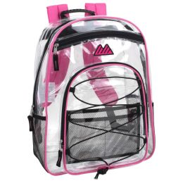 """24 Units of 17 Inch Clear Bungee Backpack- PINK - Backpacks 17"""""""
