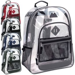 """24 Units of 17 Inch Clear Backpack-ASST - Backpacks 17"""""""