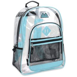 """24 Units of 17 Inch Clear Backpack- turquoise - Backpacks 17"""""""