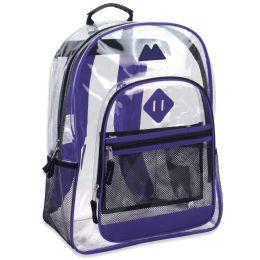 "24 Units of 17 Inch Clear Backpack- PURPLE - Backpacks 17"""