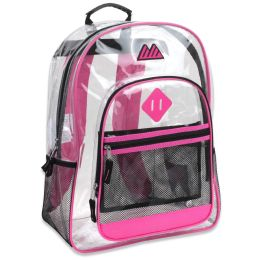 """24 Units of 17 Inch Clear Backpack- Pink - Backpacks 17"""""""