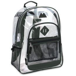 "24 Units of 17 Inch Clear Backpack- GREEN - Backpacks 17"""