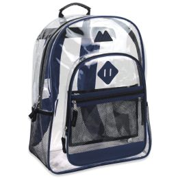 "24 Units of 17 Inch Clear Backpack- BLUE - Backpacks 17"""