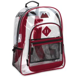 """24 Units of 17 Inch Clear Backpack- RED - Backpacks 17"""""""