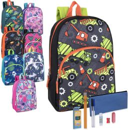 24 Units of Preassembled 15 Inch Character Backpack & 12 Piece School Supply Kit- Boys & Girls Printed - School Supply Kits