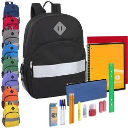 24 Units of 17 Inch Safety Reflective Backpack & 20 Piece School Supply Kit - 9 Colors - School Supply Kits