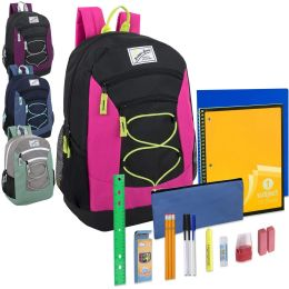 24 Units of Preassembled 18 Inch Urban Sport Multi Pocket Bungee Backpack & 20 Piece School Supply Kit - Girls - School Supply Kits