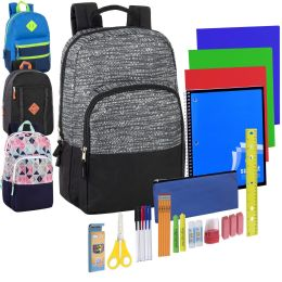 12 Units of Preassembled 18 Inch Dome Backpack & 30 Piece School Supply Kit - 4 Color Assortment - School Supply Kits