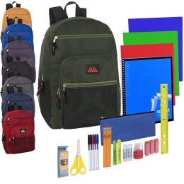 12 Units of Preassembled Deluxe Multi Backpack & 30 Piece School Supply Kit - 8 Color Assortment - School Supply Kits