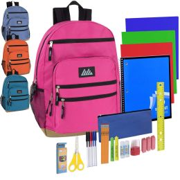 12 Units of Preassembled 18 Inch Rugged Bottom Backpack with Laptop Section & 30 Piece School Supply Kit - Girls - School Supply Kits