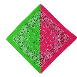 72 Units of Splicing Color Bandanas In Green And Red - Bandanas