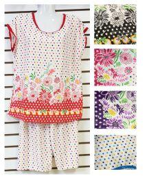 24 Units of 2 Piece Floral Pajama Assorted - Women's Pajamas and Sleepwear