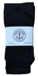 240 Units of Yacht & Smith Kids Solid Tube Socks Size 6-8 Black Bulk Pack - Boys Crew Sock