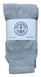 240 Units of Yacht & Smith Kids Solid Tube Socks Size 6-8 Gray Bulk Pack - Boys Crew Sock