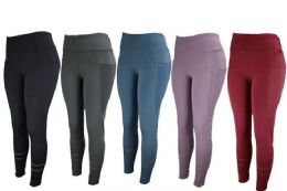 12 Units of Womens Stretch Long Leggings In Assorted Colors - Womens Leggings