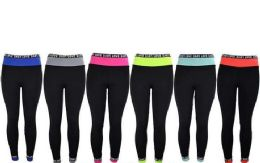 12 Units of Womens Love Stretch Long Leggings In Assorted Colors - Womens Leggings