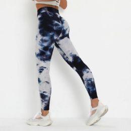 12 Units of Lady Textured Tie Dye Leggings In Assorted Colors - Womens Leggings