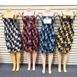 12 Units of Short Spaghetti Strap Dress For Women Summer Assorted Color And Size - Womens Sundresses & Fashion