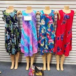 12 Units of Print Sundress Sleeveless Mid Length Ladies' Patio Dress - Womens Sundresses & Fashion