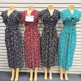 12 Units of Womens Printed Long Maxi Dress In Assorted Color And Size - Womens Sundresses & Fashion