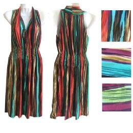12 Units of Womens Printed Maxi Deep V Neck Dress In Assorted Color And Size - Womens Sundresses & Fashion