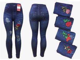 12 Units of Womens Rose Leggings - Womens Leggings