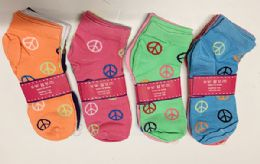 144 Units of Women Short Socks Peace Print In Assorted Colors Size 9-11 - Womens Ankle Sock