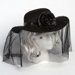18 Units of Hat Mourners W/spider Veil & Rosette Hook/ht - Caps & Headwear
