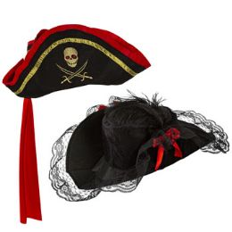 18 Units of Pirate Hat 2ast Adult Men/wome Lacy Buccaneer/captain Tricorn - Costumes & Accessories